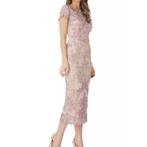 JS Collections Soutache Lace Midi Dress Pink Sand